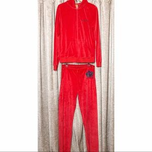 Y2K Juicy Couture Red Velour Crown Logo Tracksuit